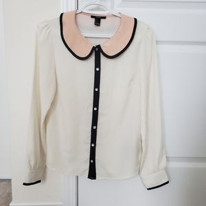 NWT Forever 21 Collared Pearl Button Blouse Small